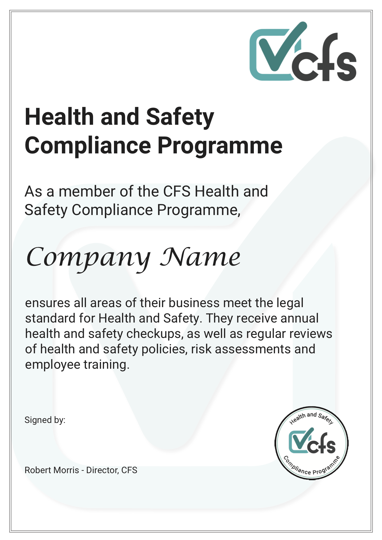 health and safety certificate template - health and safety certificate complete food safety ltd